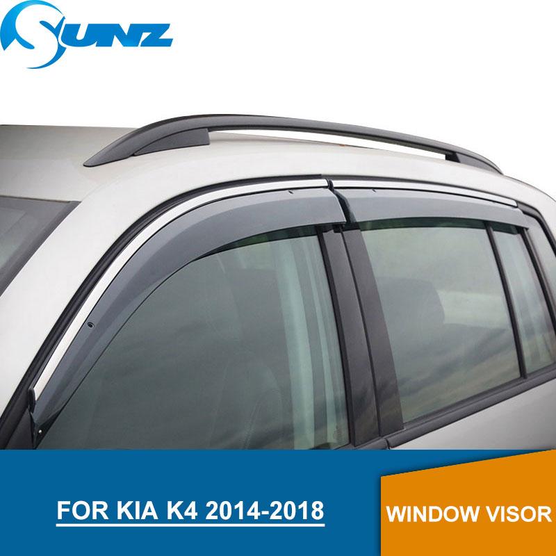 Window Visor for KIA K4 2014-2018 side CHROME Strips window deflectors rain guards 2014 2015 2016 2017 2018 SUNZ