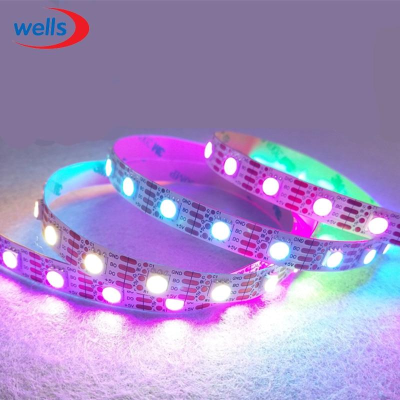 Ny 1m / 5m WS2813 Smart LED-pixelremsa, Svart / vit PCB, 30/60 LED / - LED-belysning - Foto 4