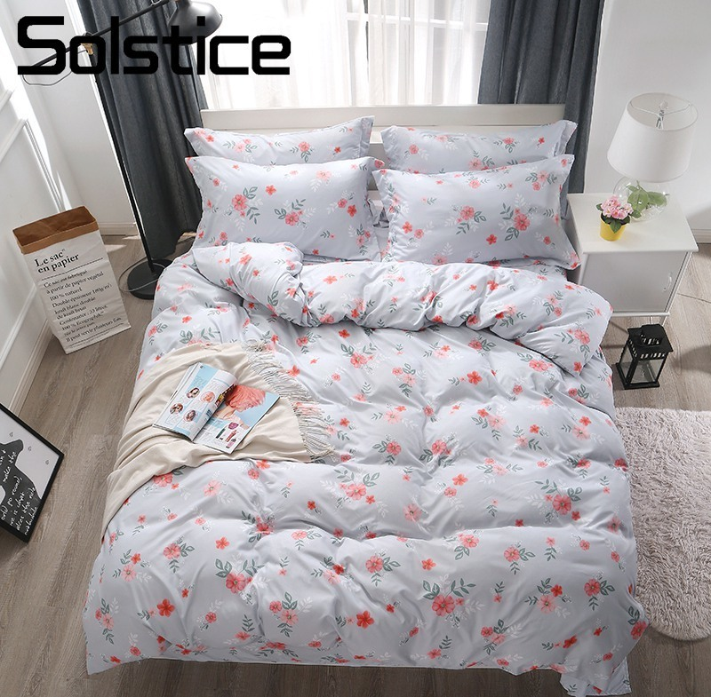 Solstice Home Textile Flower Gray Duvet Cover Pillowcase Bed Sheet Girl Teen Adult Woman Bedding Linen Set Queen Twin Bedclothes