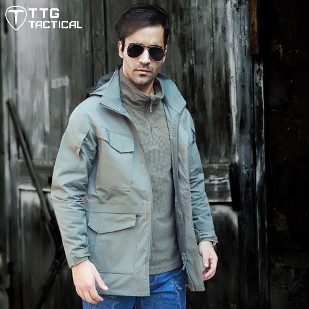 TTGTACTICAL Men M65 Cotton Military Windbreaker Multi-Pockets Hooded Tactical Coat Plus Size Windproof Camping Sport Jacket