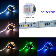 5M/lot RGBWW 60Leds/m 5 color in 1 flexible LED Strip light,SMD 5050 RGB+cool White&warm white;DC12V/24V