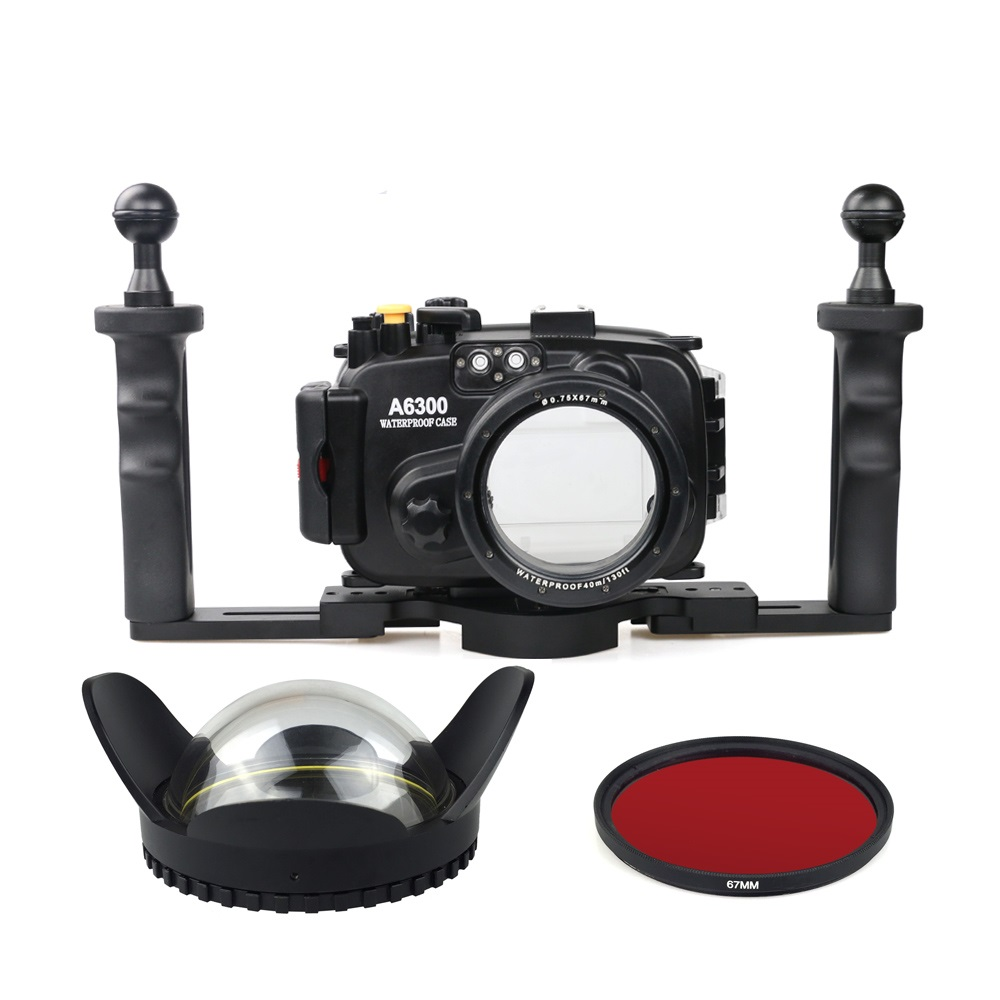 40m/130ft Waterproof Underwater Camera Housing Case for A6300 16-50mm Lens + Tray + Red Filter + 67mm Round Fisheye 40m 130ft waterproof underwater camera diving housing case aluminum handle for sony a7 a7r a7s 28 70mm lens camera