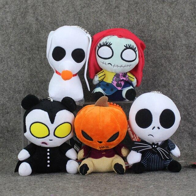 5pcslot the nightmare before christmas plush toy jack sally pumpkin keychain pendants 13cm dolls