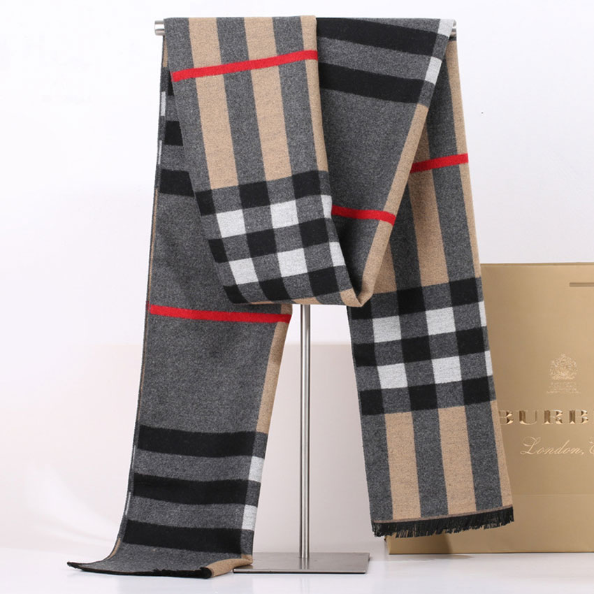 Men's scarves simple business winter thickened warm collar scarf geometric checked pattern men's hot