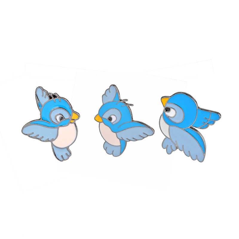 Eumyias Thalassinus Burung Pin Bros Burung Biru Bros Logam Enamel Kerah Kecil Pin Lencana Partai Pin Bros Lucu Sparrow Pin