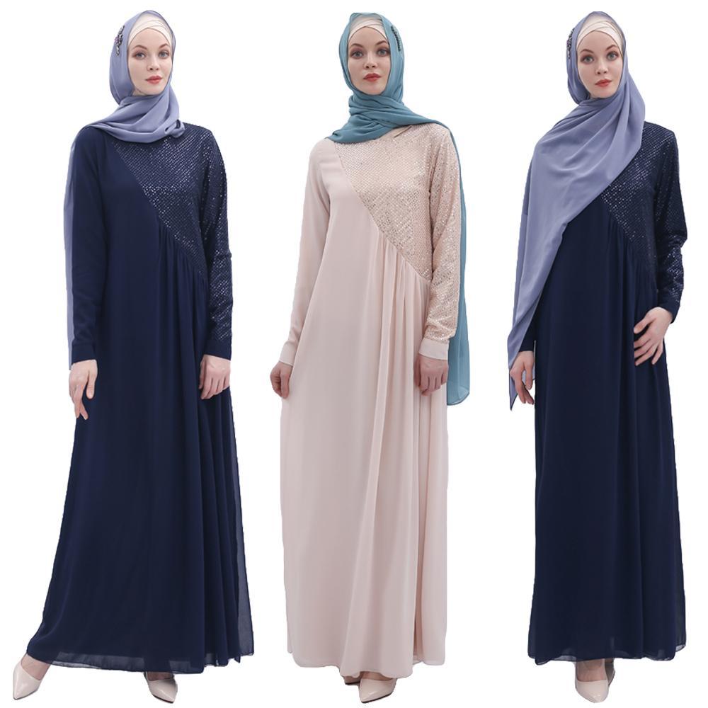 Femmes musulmanes Abaya Sequin Robe dubaï Robe Jilbab en mousseline de soie caftan Vintage partie Maxi Hijab Robe Robe arabe islamique vêtements nouveau