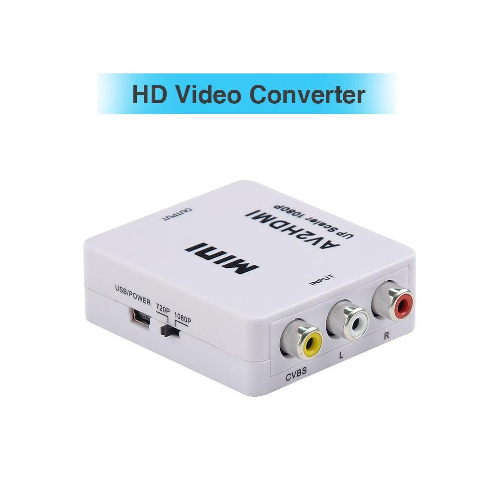 New Mini Composite AV RCA to HDMI Video Converter Adapter Full HD 720/1080p UP Scaler AV2HDMI for HDTV Standard TV composite av cvbs 3rca to hdmi video converter adapter full hd 720p 1080p for hdtv vcr dvd vhs ps3 xbox white new