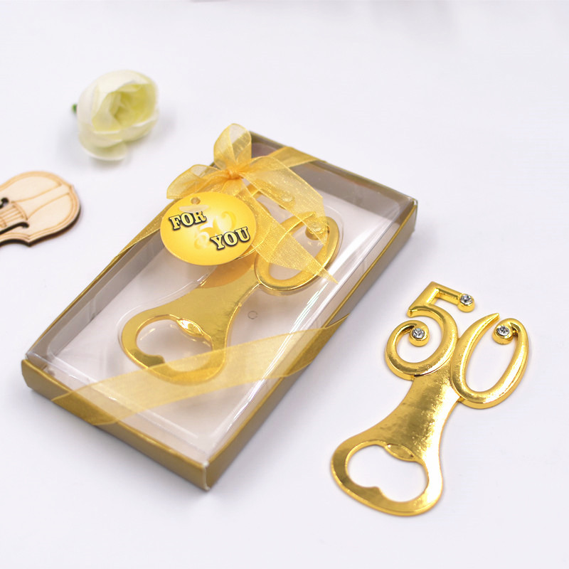free shipping wholesale supplies Gold Beer Bottle Opener <font><b>50th</b></font> wedding <font><b>Birthday</b></font> Anniversary <font><b>party</b></font> <font><b>favors</b></font> gifts image