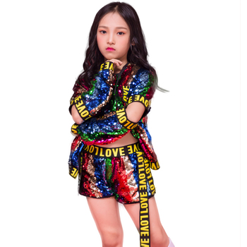 Children Jazz Dance Sequins Boys Girls Street Dance Hip Hop Costume For Kids Vest Shorts Catwalk Tide Performance Clothing Suits 4