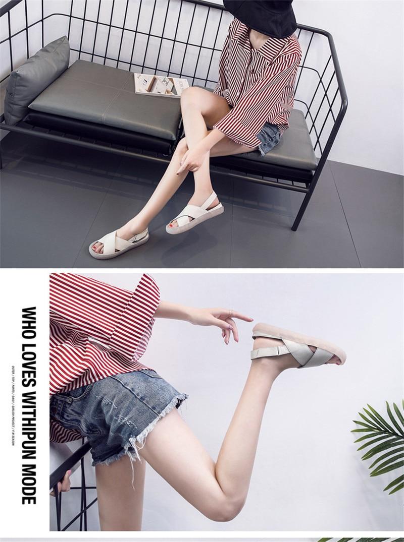 Genuine Leather Handmade Female Sandals Soft Bottom Casual Women Flats Platform Shoes Cross Strap Peep Toe Ladies Slippers Shoes (9)
