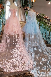 Image 5 - Short Evening Dress with Long Cape  Lace Up Back Appliques Pink and Blue Prom Dresses Abendkleider 2020 Real Photos