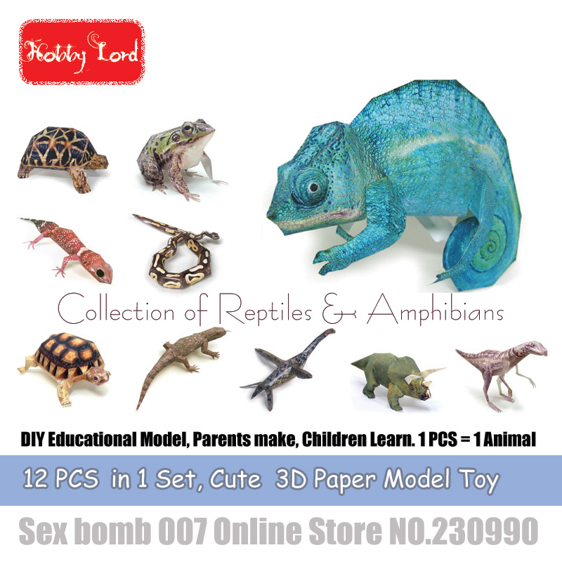 US $12 98 15% OFF 12 PCS in 1 Reptiles Animal 3D Paper Models chameleon DIY  Educational Model Toys For Kid Adult crafting class Teaching material-in