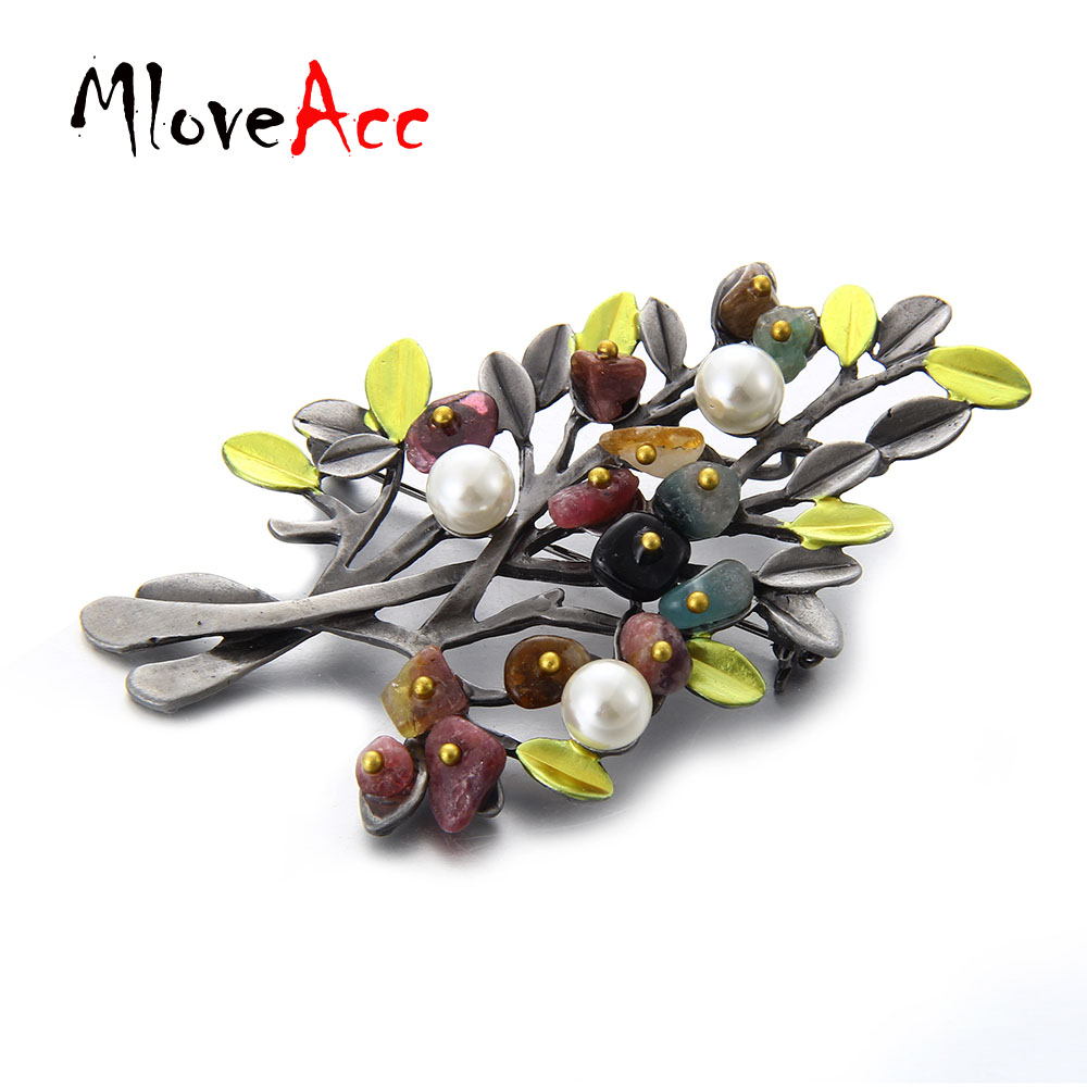 MloveAcc Vintage Natural Stone Brooch Pendant Retro Tree Shape - Fashion Jewelry - Photo 5