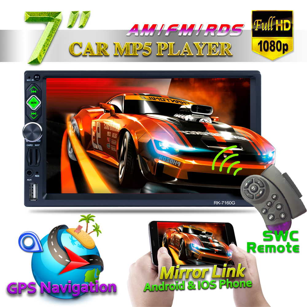7160G 7inch Car GPS Navigation 800*480 Bluetooth Media MP5 Player Apple Android AM FM RDS Radio AUX Mirror Link For Andriod IOS 7160G 7inch Car GPS Navigation 800*480 Bluetooth Media MP5 Player Apple Android AM FM RDS Radio AUX Mirror Link For Andriod IOS