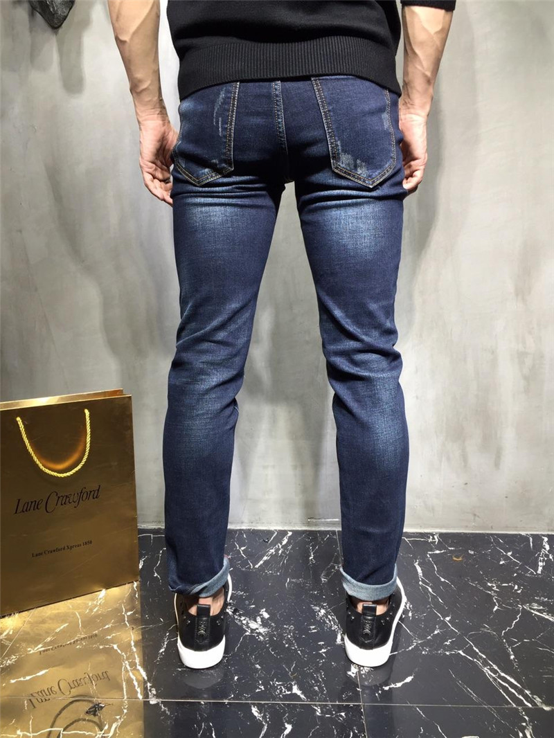 ФОТО Metrosexual new heavy washing needle hole patch patch 'straight leg jeans male personality long pants 2017