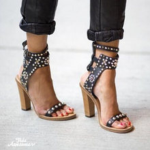 Mikishyda Rome Style High Heel Women Gladiator Sandals 4 Colors Studded Rivets Rhinestone Sandale Femme Pumps Native Shoes