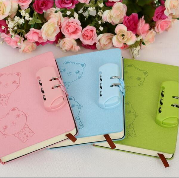 Cartoon cat password lock Notebook Gift diary Note Book Agenda planner Material escolar caderno Office stationery supplies GT085 the vampire diaries notebook gift diary note book agenda planner material escolar caderno office stationery supplies gt090