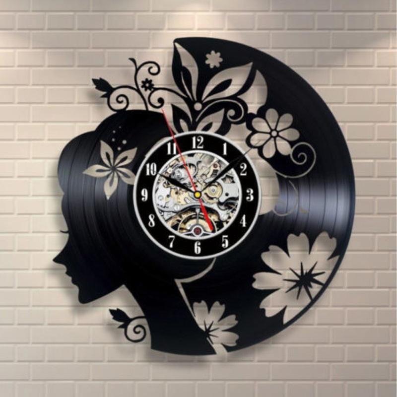 Flowers And Girls Retro CD Vinyl Record Wall Clock LP Decorate Your Home With Modern Art Gifts For Kids Girls And Boys Saat
