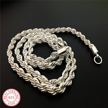 LJ&OMR  wholesale 925 sterling silver necklace, fashion jewelry Rope Chain 4mm Necklace 16 18 20 22 24