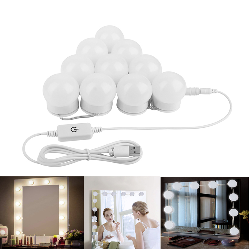 Us 18 28 36 Off Hollywood Makeup Mirror Light Usb Bathroom Wall Lamp Dimmable Led 5v Mirror Headlight Led Vanity Mirror Light Bulb Kit Lighting In