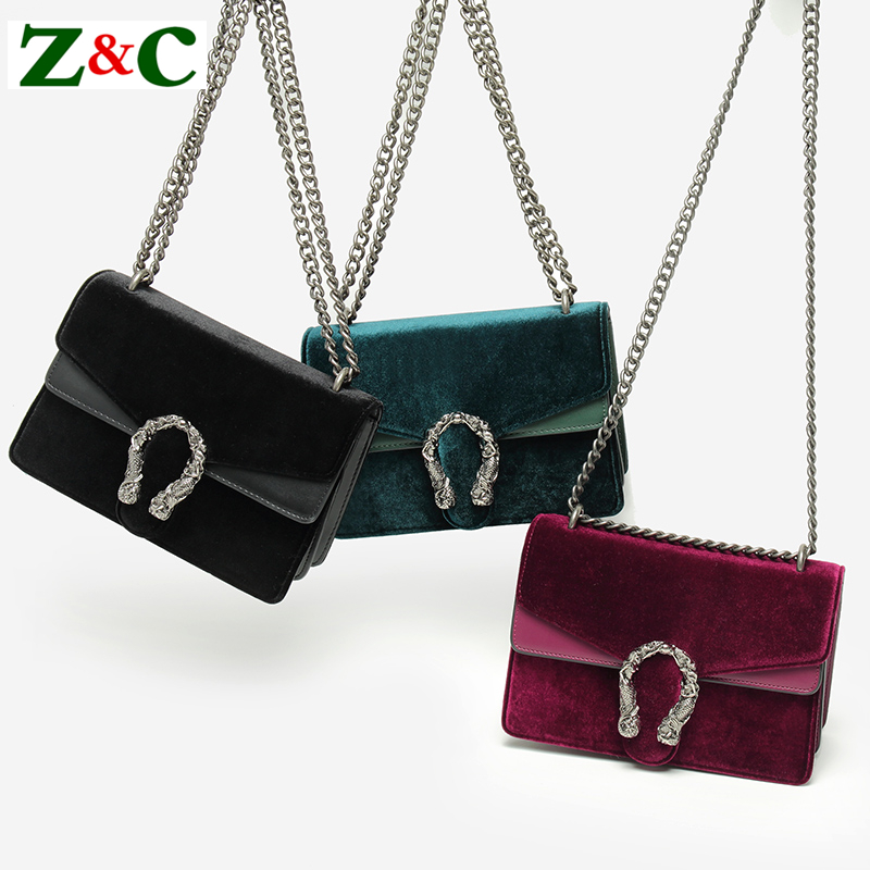 2018 Luxury Fashion Velvet Women Shoulder Crossbody Bag High Quality Casual Chain Hit Color Messenger Bag Purse and Handbags Sac etersto2018 new casual fashion stitching hit color handbags new fashion handbags parker women s party wallets ms messenger bag