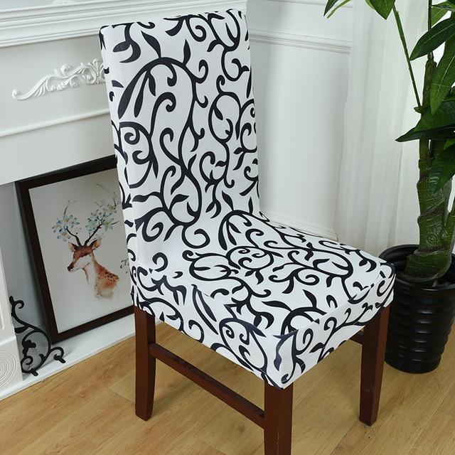 4 colores spandex stretch impresión comedor Fundas para sillas ...