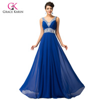 Free Shipping GK Stock Deep V Neck Chiffon Ball Gown Evening Prom Party Dress 8 Size