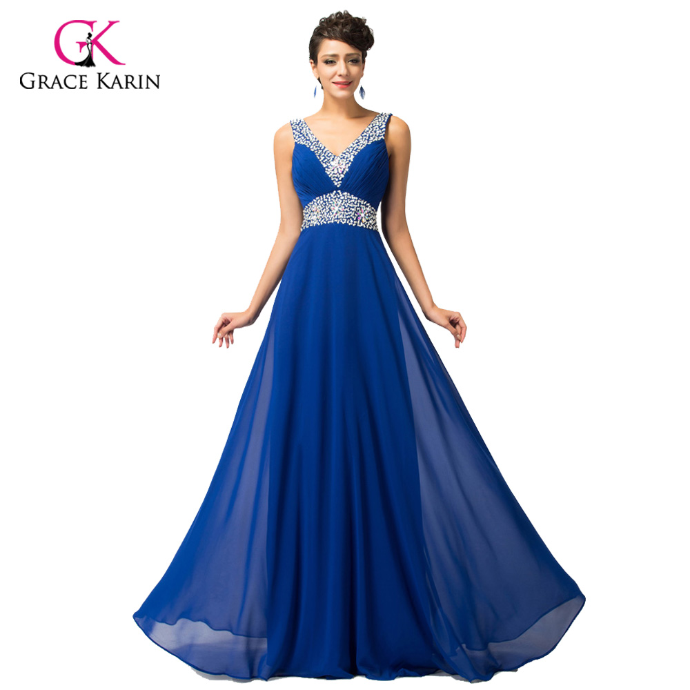 Aliexpress buy evening dress grace karin elegant chiffon v aliexpress buy evening dress grace karin elegant chiffon v neck 2017 new arrival gowns china royal blue long evening gown formal dresses from reliable ombrellifo Choice Image