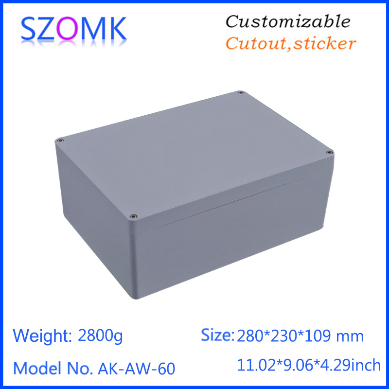 1 piece, 280*230*109mm szomk aluminum enclosure electronics die casting waterproof junction box aluminum housing case 1 piece free shipping powder coating aluminium junction housing box for waterproof router case 81 h x126 w x196 l mm