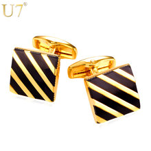 U7 Classic Black Square Cufflinks For Mens Fashion Gold Color Diagonal Stripe Cuff Button Men Suit Jewelry With Box C011(China)
