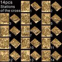 14 stücke Christus der weg der trauer drehen 3D STL modell für geschnitzte abbildung cnc-maschine Kreuzigung modell für cnc Router Stecher ArtCam
