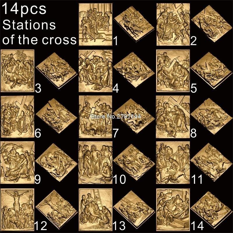 14 шт. Христос путь печали 3D STL модель для резной фигуры cnc машина распятие модель для ЧПУ маршрутизатор гравер ArtCam