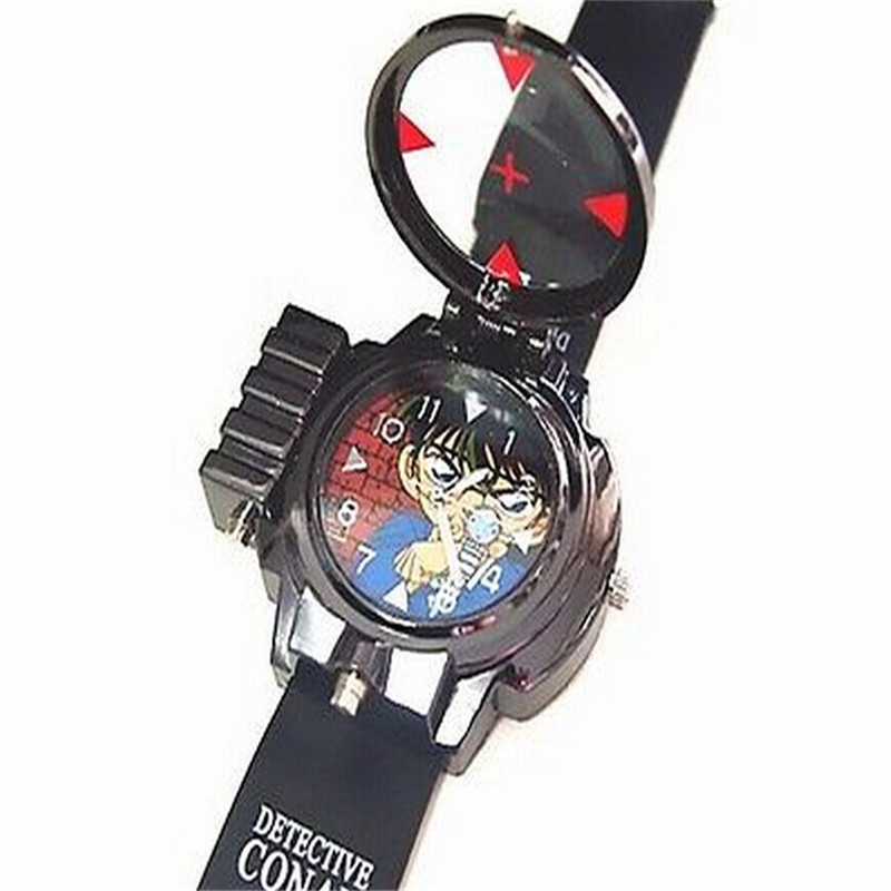 Children's Detective Conan Infrared Glass Red Light Laser zoom Analog Cartoon Characters wristwatch Brand New