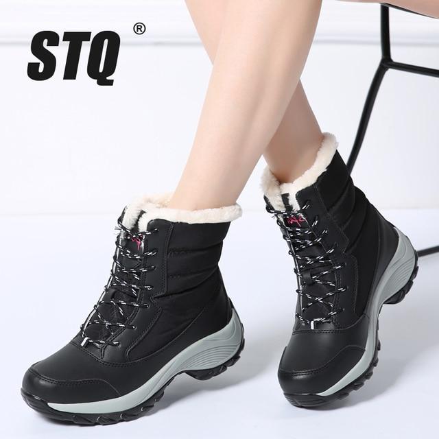 STQ 2019 Winter Vrouwen Snowboots Mid-Kalf Platform enkellaars vrouwen hoge warm bont pluche regen laarzen voor vrouwen wandelschoenen 1617