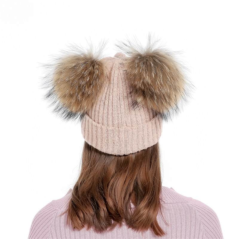 ccdf894dddb50 Lanxxy Real Mink Fur Pompom Cap Women Winter Hats Girls Knitted Wool Cotton  Hats Two Pom Poms Skullies Beanies Bonnet Female Cap-in Skullies   Beanies  from ...