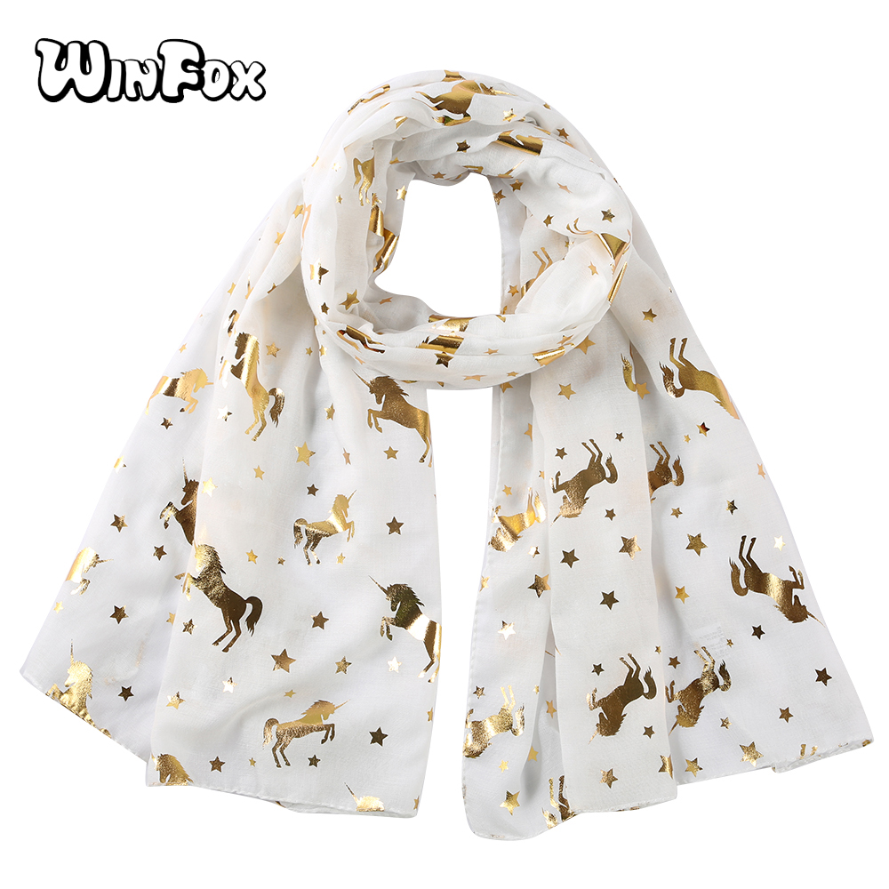 Winfox White Pink Animal Unicorn Scarfs Horse Women Shiny Glitter Foil Gold Star Beach   Scarves     Wrap   Shawl Stole Ladies