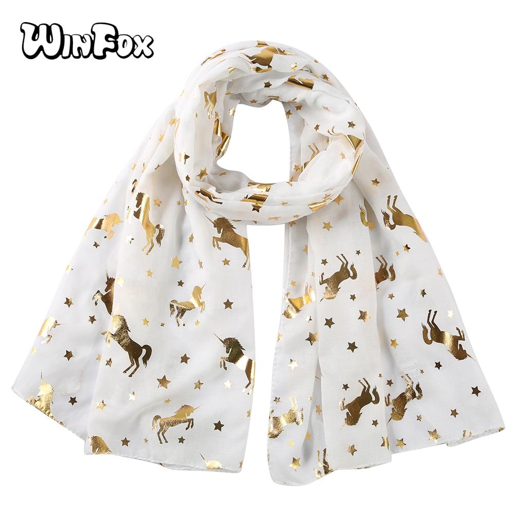 Winfox White Pink Animal Unicorn Scarfs Horse Women Shiny Glitter Foil Gold Star Beach   Scarves     Wrap   Shawl Stole Ladies