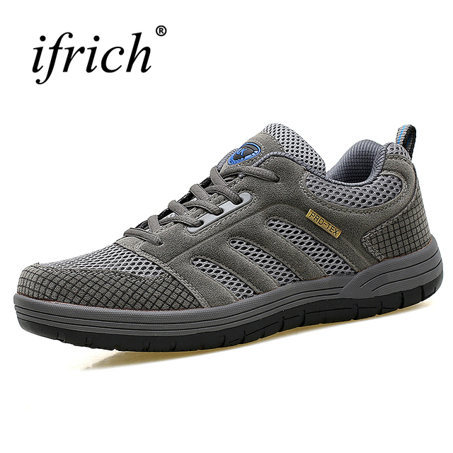 Outdoor Shoes Men Brand Breathable Climbing Shoes Men Hiking Spring/Summer Men Walking Sneakers Brown/Gray Mens Shoes Sports