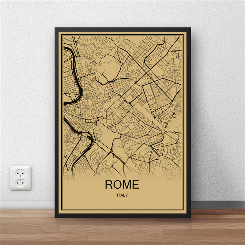 Hot Sale ROME World Map Vintage Poster Retro Painting Krafts Paper Art Wall Picture Living Room Cafe Bar Decor Home