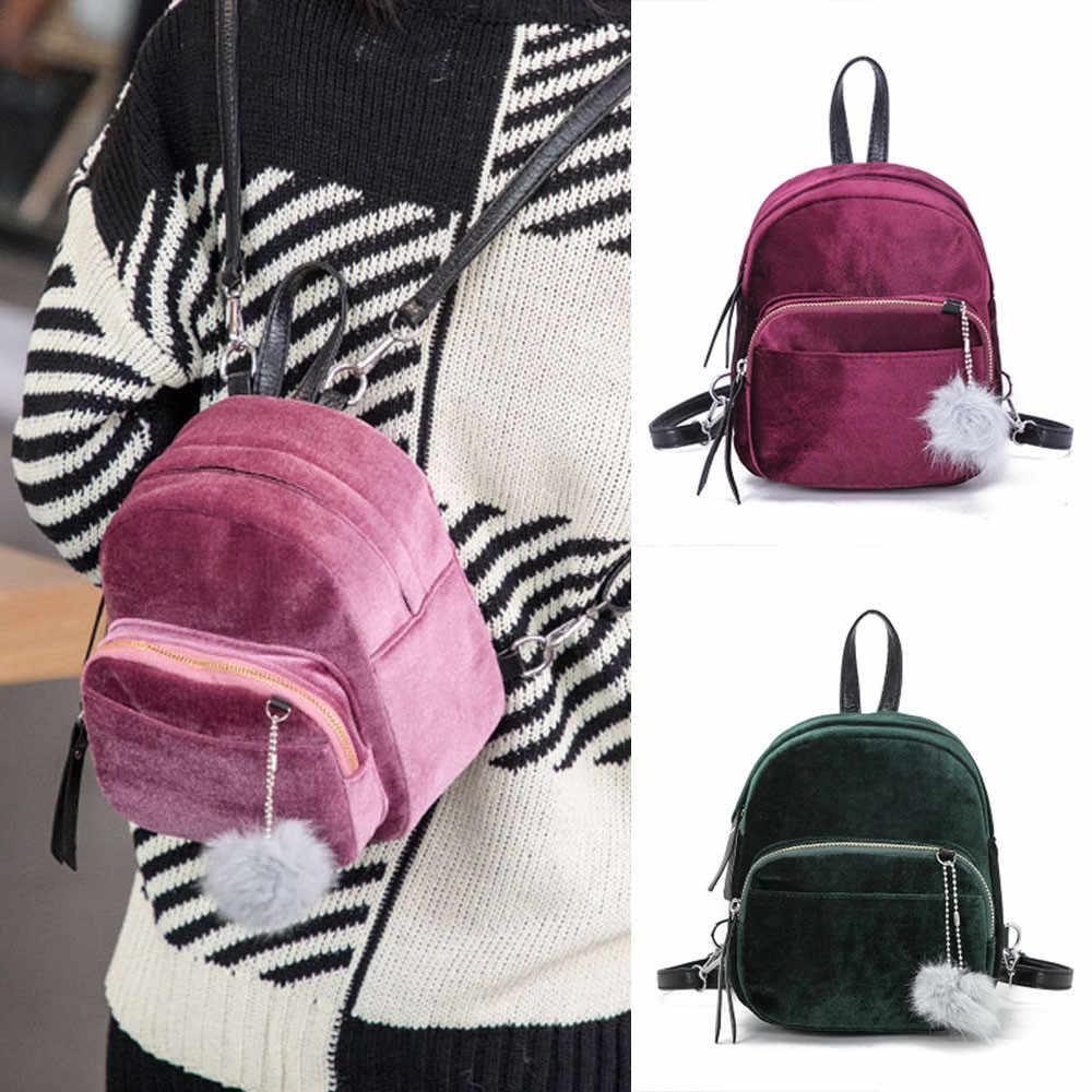 b6b74e18417d HB @ подростковой моды мини меховой шарик рюкзак мода мягкая сумка Твердые  Для ...