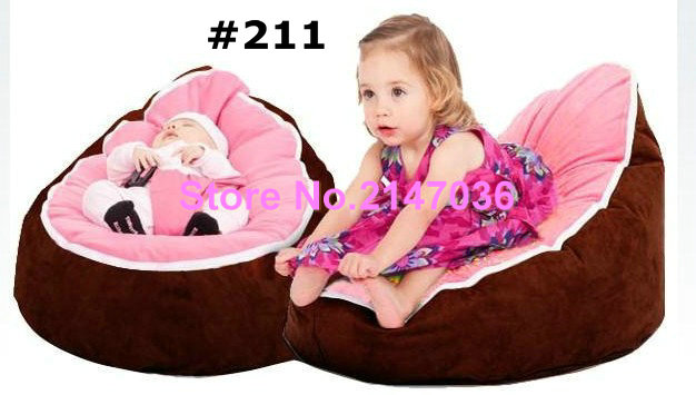 Brown Pink Seat Inexpensive Zipper Baby Bean Bag Soft Sleeping Bed Portable Without Filling