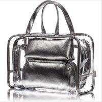 5 Pcs/Set Travel Transparent Cosmetic Bag Women Paillette PVC Makeup Bags Wash Pouch Beauty Organizer Storage Case Toiletry Bag