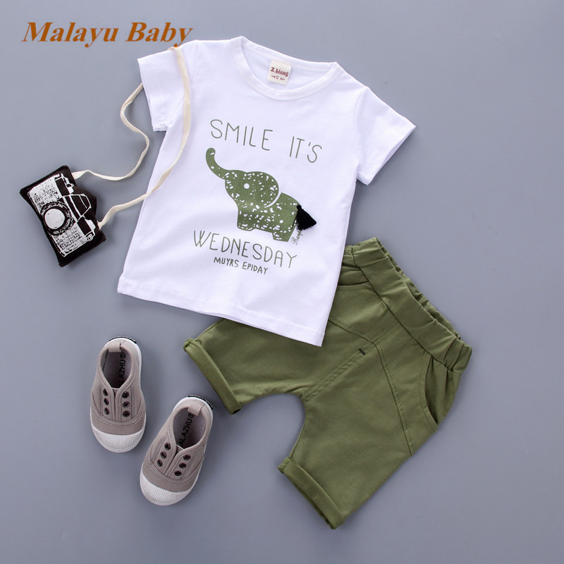 Malayu Baby New Summer baby sets boys clothes short Sleeve T-shirt cotton o-neck shorts with Animal print children clothing set