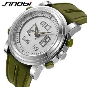 Image 4 - SINOBI sportowe cyfrowe zegarki męskie chronograf męskie zegarki wodoodporne czarne Watchband męskie wojskowe genewa kwarcowy zegar