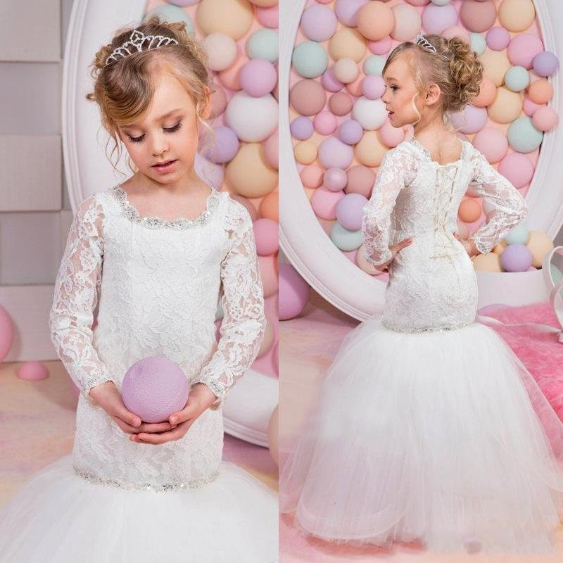 96be8d63a51 Cheap O Neck Long Sleeve Lace Applique Mermaid Little Flower Girls Dresses  2017 New Arrivals Girls Pageant Dresses Custom Made-in Flower Girl Dresses  from ...