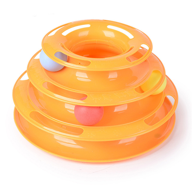 Plastic 3 Levels Tower Cat Toy Track Ball Funny Pet Products Amusement Rides Toys For Cats Play Balls Supplies Accessories