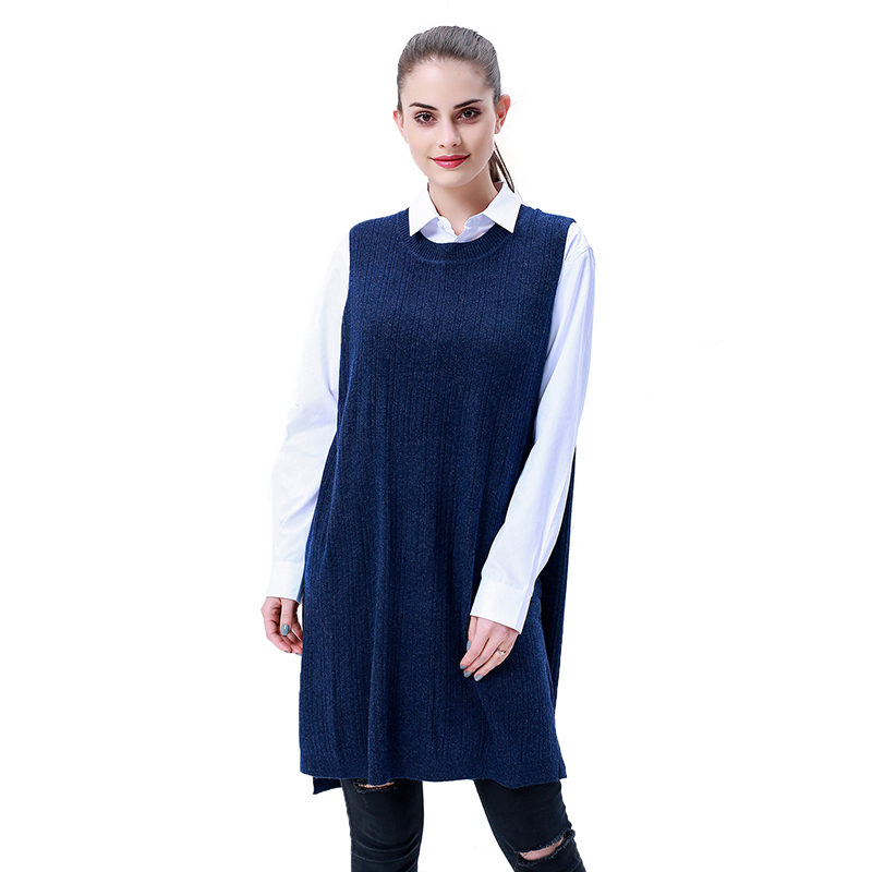 MEERUR Women Cashmere Sweater Vests Long Baggy Sweater Crewneck Knitwear Ladies Spring Tops Wool Long Pullover Sweater LX60020
