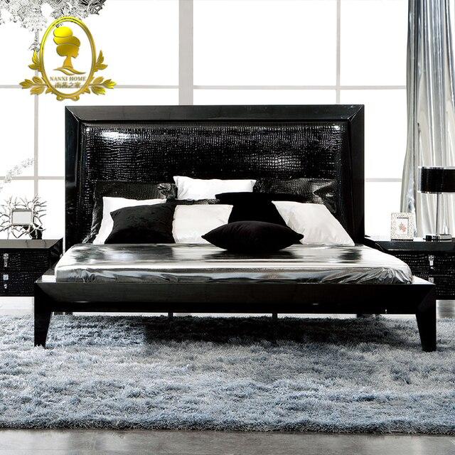 Muebles de dormitorio moderno color negro bruto pintura cama, mesita ...