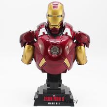 Iron Man 3 MARK VII 1 4 skala edycja limitowana kolekcjonerska biust figurka zabawka z oświetleniem LED 23cm tanie tanio Model Unisex Film i telewizja Wyroby gotowe Zachodnia animiation Żołnierz gotowy produkt 25 cm 8-11 lat 8 lat 6 lat