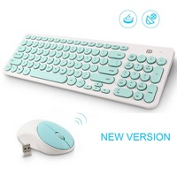 FD Wireless Keyboard and Mouse 2.4GHz Mini Ultra Slim for Mac Notebook Laptop Computer Desktop Office Game with Russian Stickers